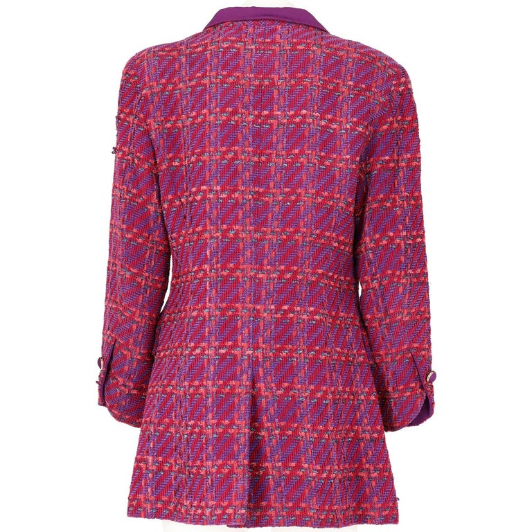 1980s Nina Ricci Purple Wool Vintage Jacket In Good Condition For Sale In Lugo (RA), IT