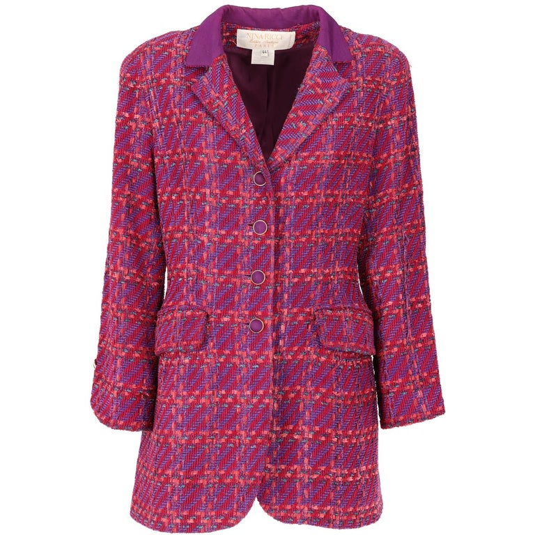1980s Nina Ricci Purple Wool Vintage Jacket For Sale