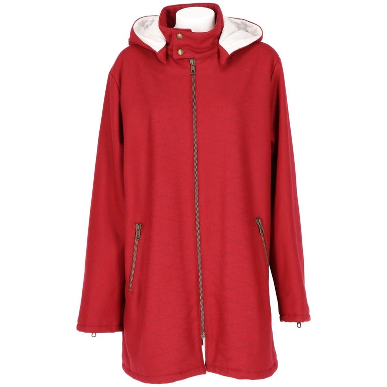 2000s Romeo Gigli Burgundy Vintage Hooded Coat For Sale