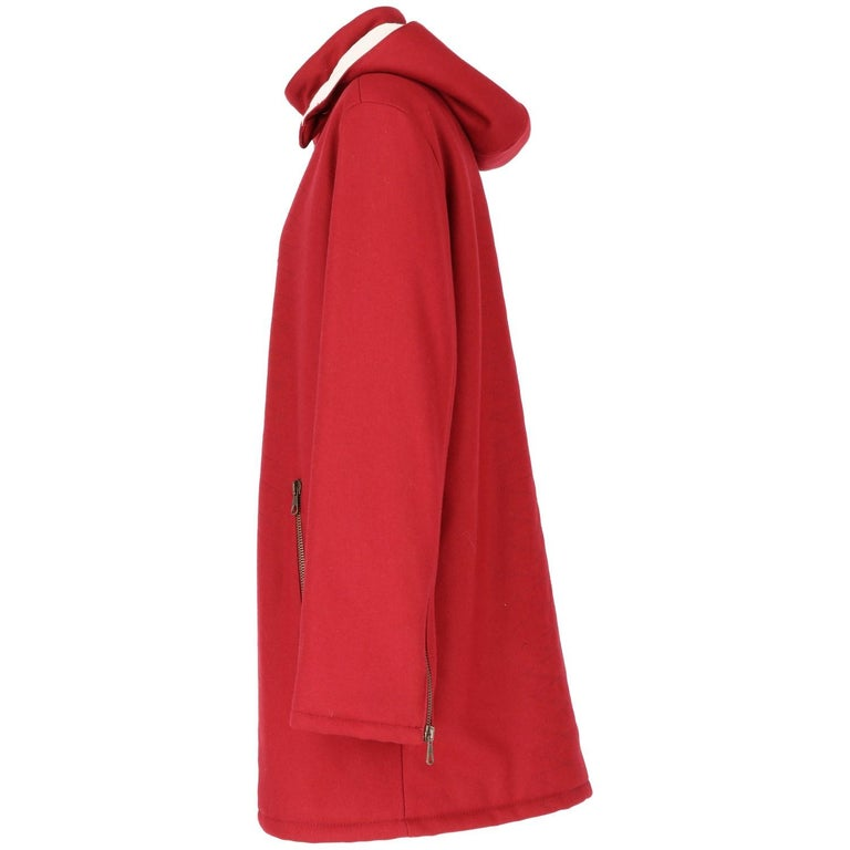 Red 2000s Romeo Gigli Burgundy Vintage Hooded Coat For Sale
