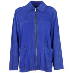 1990s Gianni Versace Electric Blue Vintage Suede Jacket