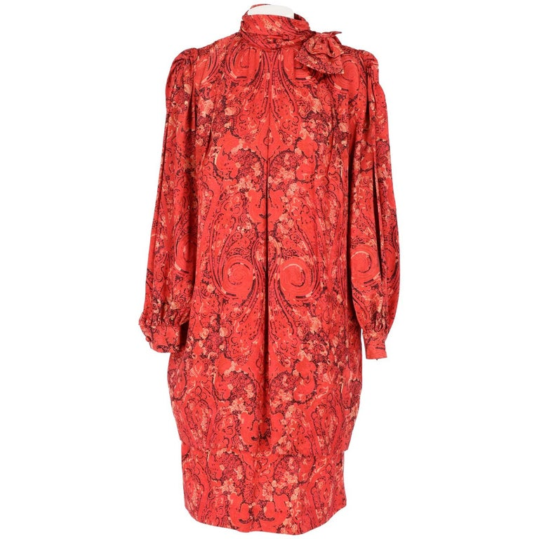 1980s Nina Ricci Red Silk Vintage Dress For Sale