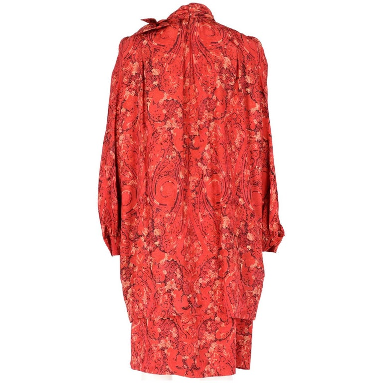 Women's 1980s Nina Ricci Red Silk Vintage Dress For Sale