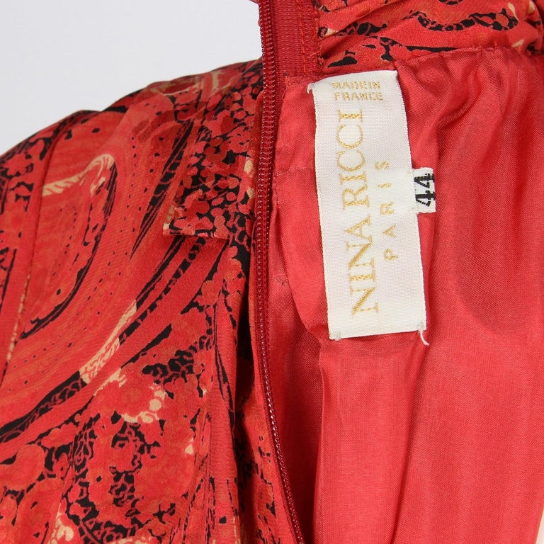 1980s Nina Ricci Red Silk Vintage Dress For Sale 4
