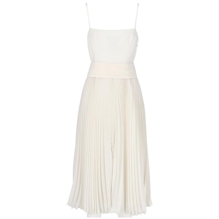 1980s Nina Ricci White Pleated Wedding Dress For Sale