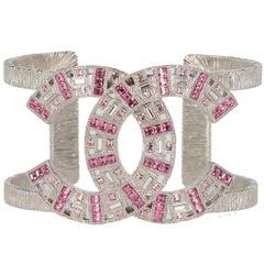 Chanel fuchsia pink glasses logo bracelet