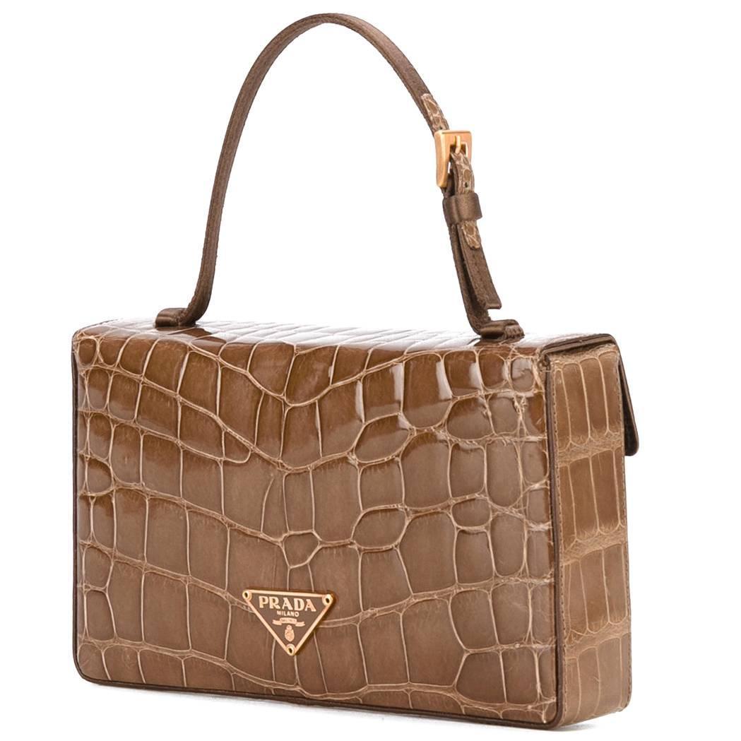1stdibs Prada Brown Crocodile Leather Vintage Bag, 2000s
