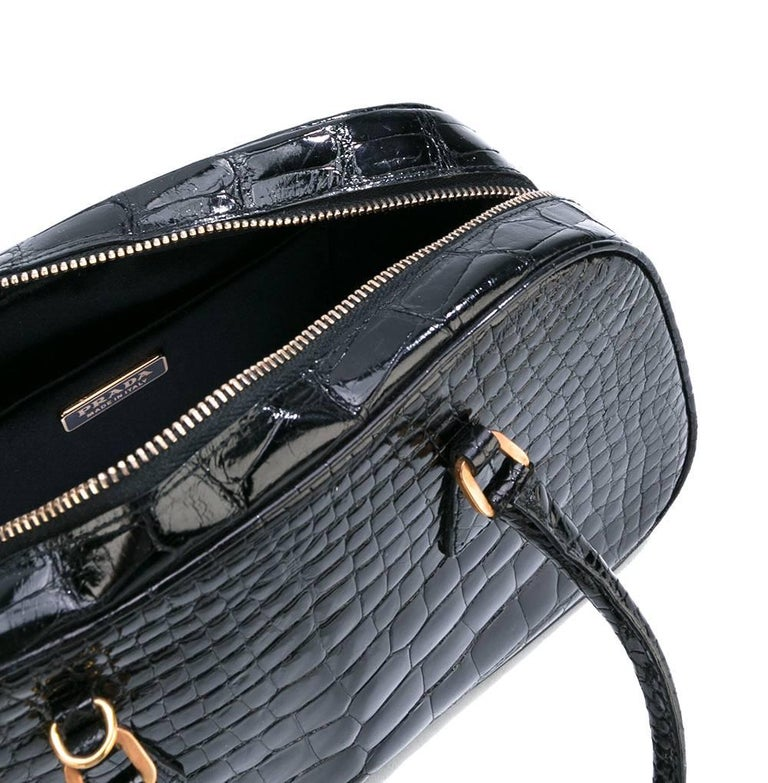 Prada Black Crocodile Leather Vintage Bag, 2000s In Excellent Condition For Sale In Lugo (RA), IT