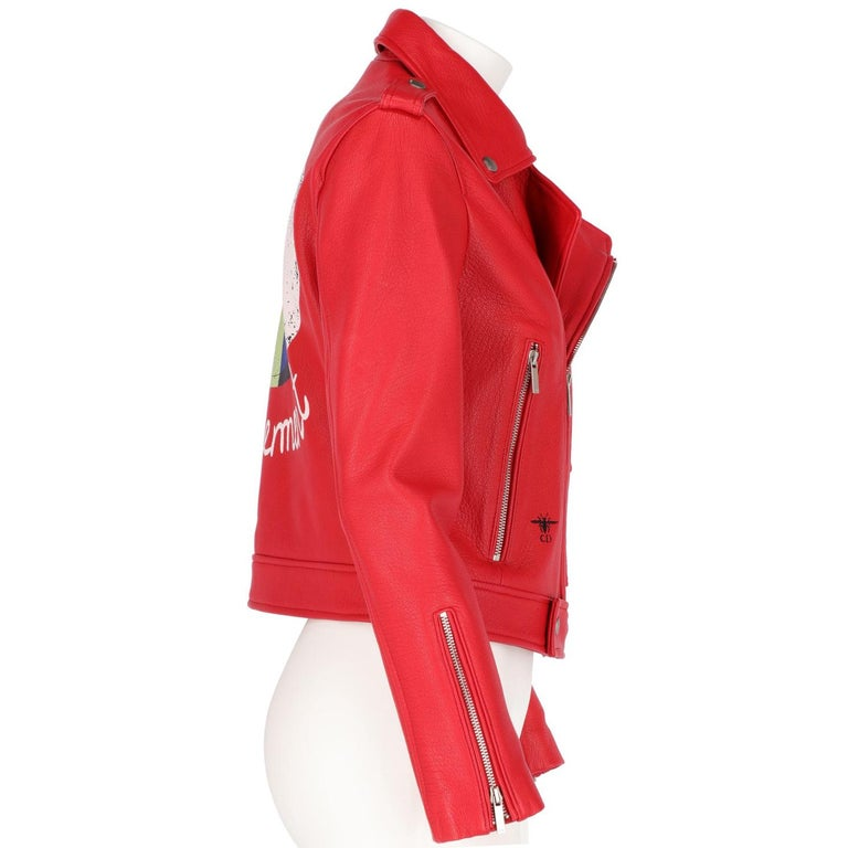 2010s Dior Red Leather Biker Jacket  In New Condition For Sale In Lugo (RA), IT