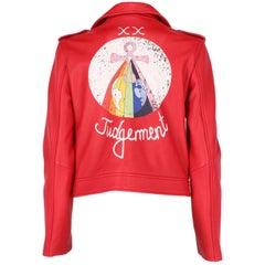 2010s Dior Red Leather Biker Jacket