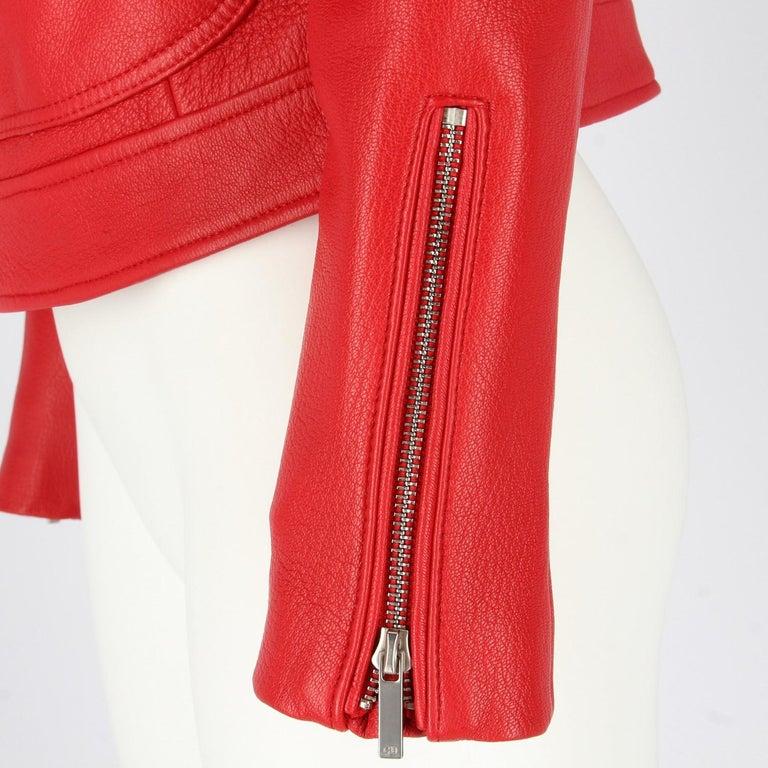 2010s Dior Red Leather Biker Jacket  For Sale 1