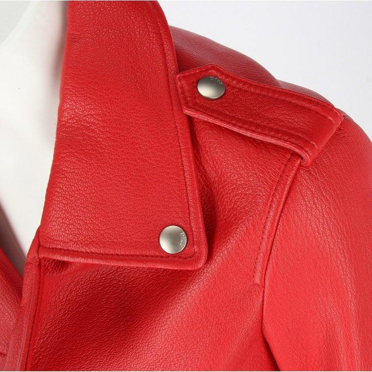 2010s Dior Red Leather Biker Jacket  For Sale 3