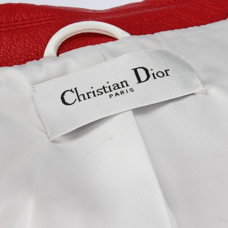2010s Dior Red Leather Biker Jacket  For Sale 5