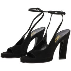 1980s Salvatore Ferragamo Black Suede Vintage Pumps