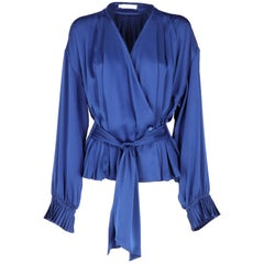 1980s, Christian Dior Vintage Blue Silk Pleated Shirt
