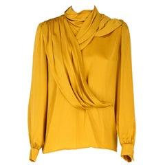 1980s, Pierre Balmain Ivoire Vintage gold Silk Blouse