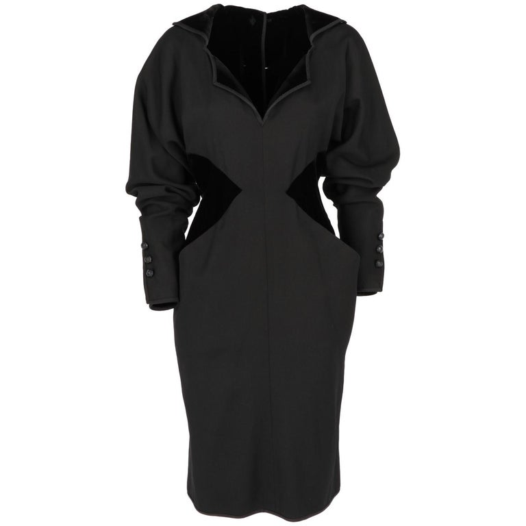 1980s Odicini Couture black wool and velvet Dress For Sale