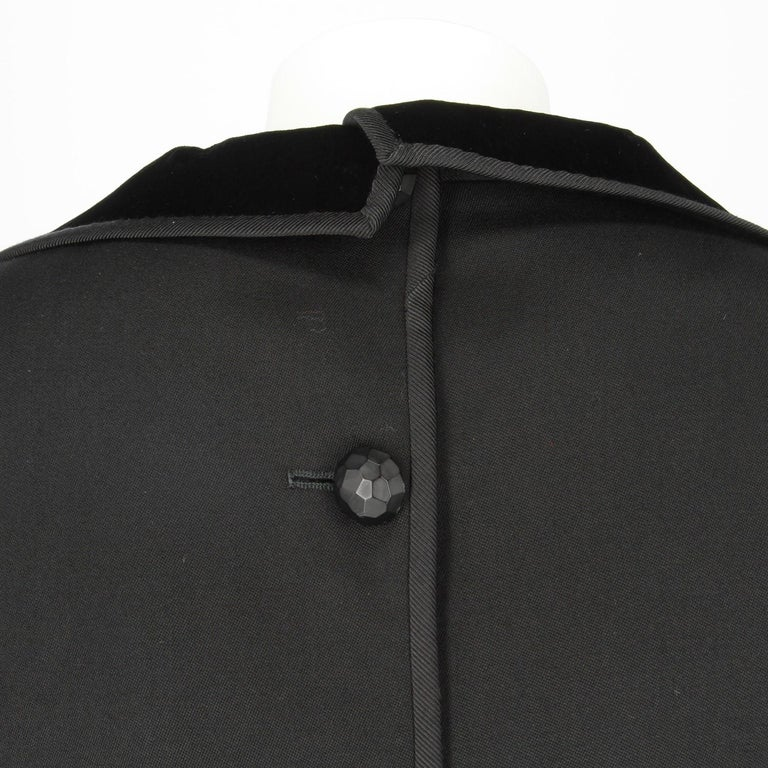 1980s Odicini Couture black wool and velvet Dress In Excellent Condition For Sale In Lugo (RA), IT