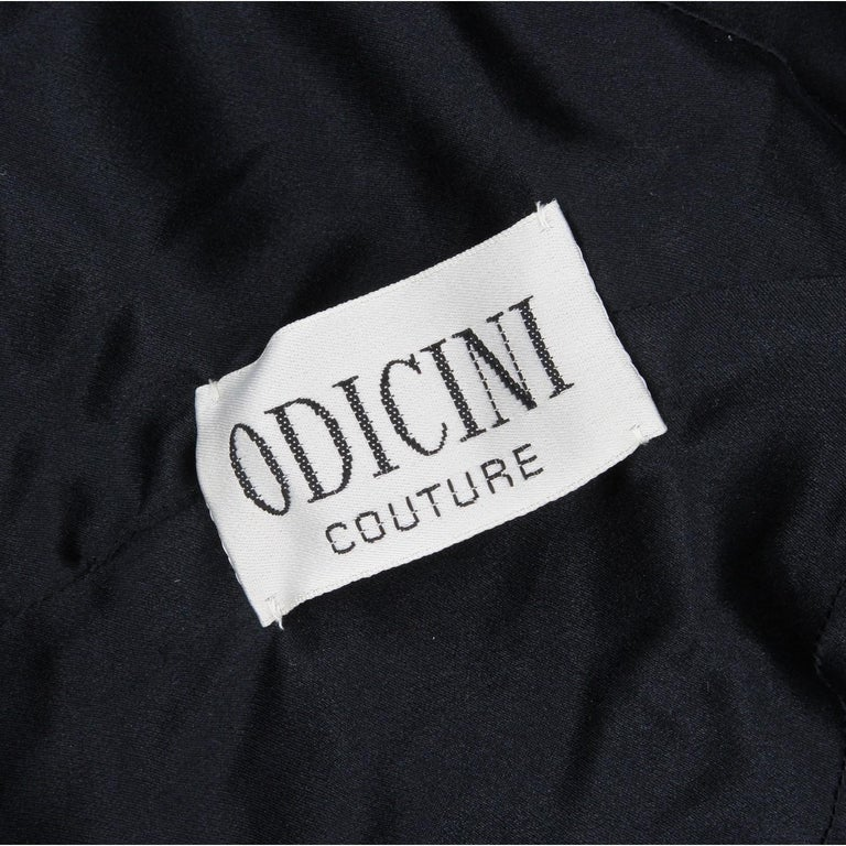 1980s Odicini Couture black wool and velvet Dress For Sale 4