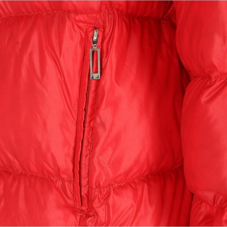 1990s Moncler Red Vintage Quilted Jacket For Sale 1