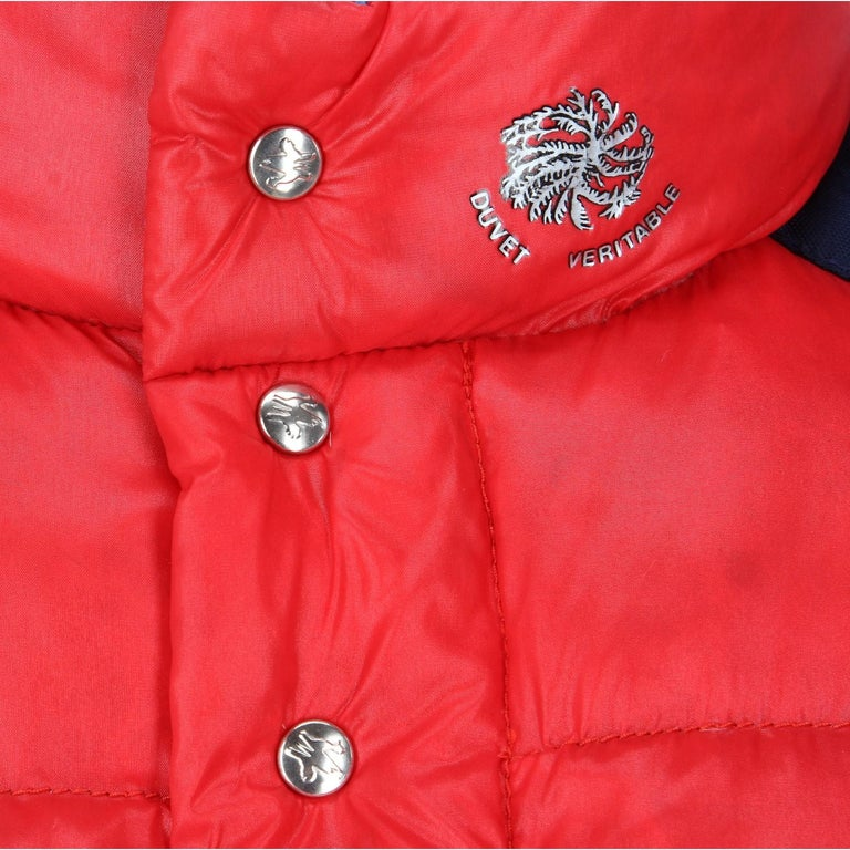 1990s Moncler Red Vintage Quilted Jacket For Sale 2