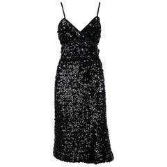 1960 Artisanal Black Sequined Dress