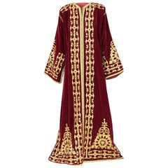 1970s Bordeaux and Gold wedding Caftan from Maghreb
