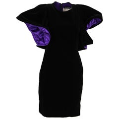 1980s Popy Moreni Black and Purple Mini Dress