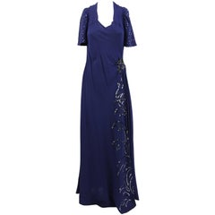 Artisanal Embroidered Dark Blue Evening Dress