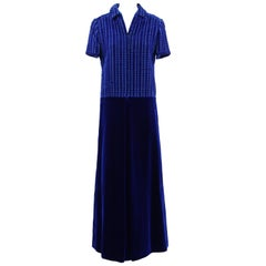 1960s Lancetti Blue Velvet Dress
