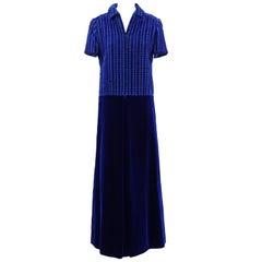 1960s Lancetti Blue Velvet Dress