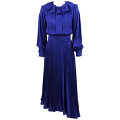 1980s André Laug Blue Silk Draped Dress