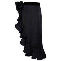 1990s Valentino Night Draped Asymmetric Skirt