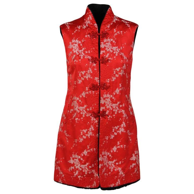 1960S Ethnic Red Floral Vest For Sale