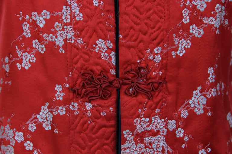 Women's 1960S Ethnic Red Floral Vest For Sale