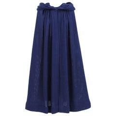 1970S Stop Sénès Blue Wool Cape-and-Skirt Ensemble