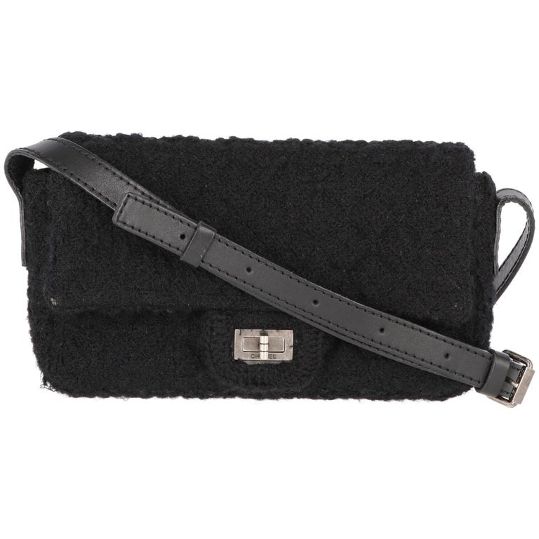 2008-2009s Chanel Black Tweed Vintage Bag For Sale