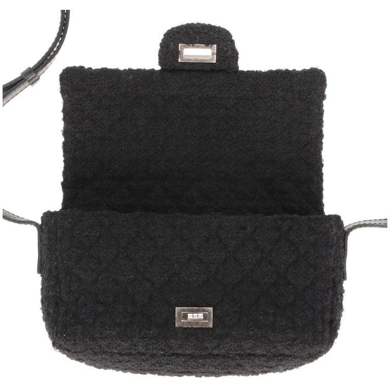 2008-2009s Chanel Black Tweed Vintage Bag For Sale 6