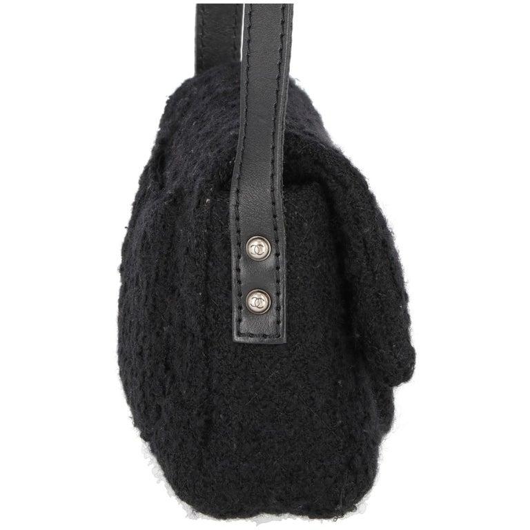 Green 2008-2009s Chanel Black Tweed Vintage Bag For Sale