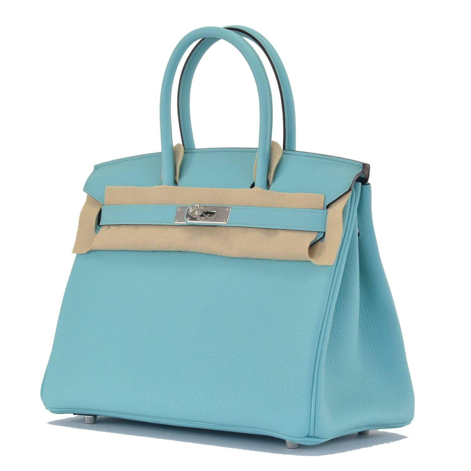 Hermes Birkin 30 Togo Blue Atoll Palladium Hardware For Sale at ...