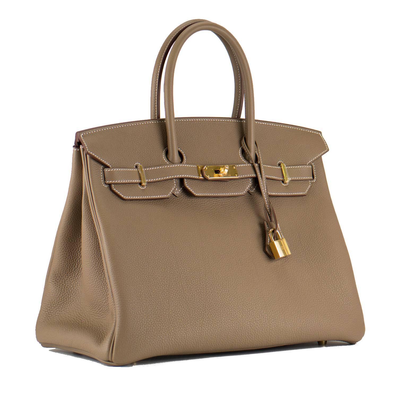 hermes wallet - Hermes Handbag Birkin 35 Togo Leather Etoupe color Gold Hardware ...