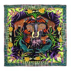 Hermes Carre Twill 100% Silk La Marche Du Zambeze Noir/Vert/Orange  2016