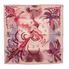 Hermes Carre Twill 100% Silk 90CM Mythiques Phoenix Rose Pal/Corail/Blue Jean