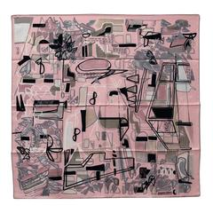 Twill Carre 100% Silk 90 CM Modernisme Tropical Rose Pale/Argile/Gr 2016