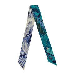 HERMES Twilly 100% Silk 86x5cm Mythiques Phoenix Blanc/Bleu/Turquoise 2016