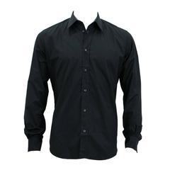 Hermes Shirt Droite Col Droite Popeline de Cotton Size 40 Color Black 2016