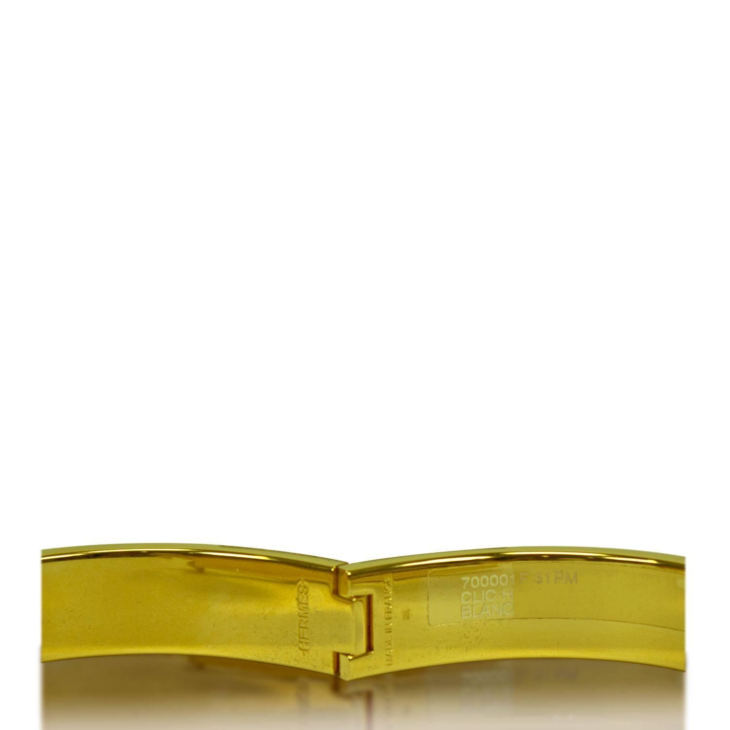 hermes bracelet clic clac h gold enamel white color pm heigth 2016 at 1stdibs
