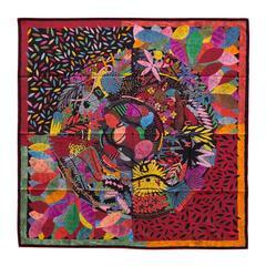 "Hermes Scarf ""Carre"" 100% Silk ""Chacun fait son nid"" by Nigel Peake 2016"