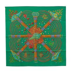"Hermes Scarf ""Carre"" 100% Silk ""Chemins de Corail"" by Annie Faivre Emerald / Cor"