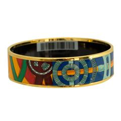 "Hermes Bracelet ""Caval d´Or"" Printed Enamel Exotic Color Gold Plated 2016"